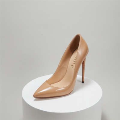 Nude Court Pumps Stiletto High Heel for office with Pointed Toe