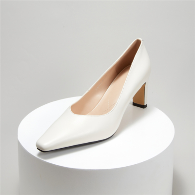 Office Block Heel Leather Pumps Square Toe Court Shoes With Low Vamp