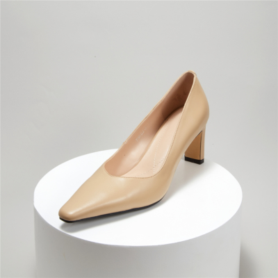 Nude Office Block Heel Leather Pumps Square Toe Court Shoes With Low Vamp