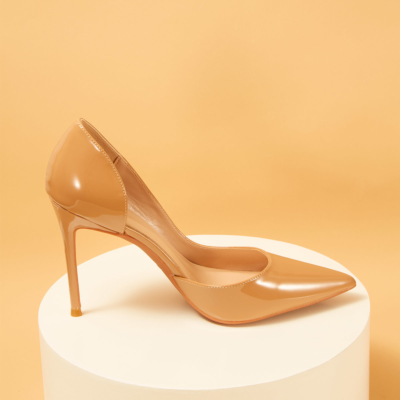 Dark Nude Patent Leather Pointed Toe D'orsay Stiletto Heels Pumps-style5