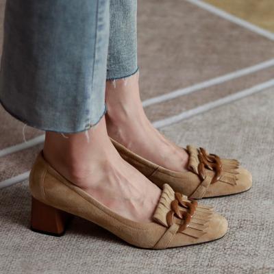 Nude Suede Round Toe Tassel Mary Jane Mid Heel Pumps
