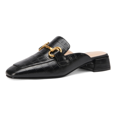 Black Office Horsebit Mule Loafers with Heels Slip On Leather Pumps
