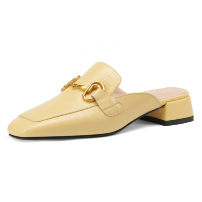 Yellow Office Horsebit Mule Loafers with Heels Slip On Leather Pumps