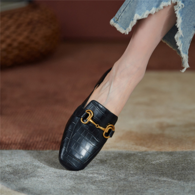 Black Office Horsebit Mule Loafers with Heels Slip On Leather Pumps