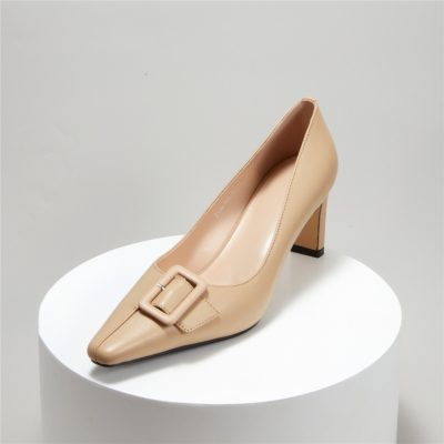 Office Mid Heel Work Shoes Square Toe Buckle Pumps for Women