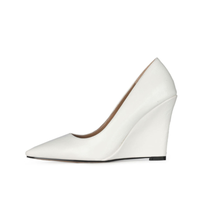 White High Heel Wedge Pumps Closed Toe Slip-on Shoes for Wedding