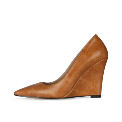 Brown 2021 Spring Wedge Pumps Closed Toe Slip-on Shoes for Work