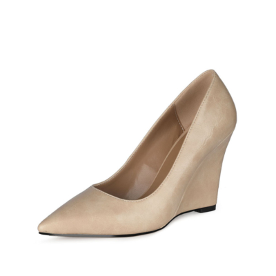 Beige Office High Heel Wedge Pumps Closed Toe Slip-on Shoes for Work
