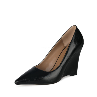 Office High Heel Wedge Pumps Closed Toe Slip-on Shoes for Work