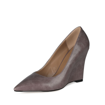Grey Office High Heel Wedge Pumps Closed Toe Slip-on Shoes for Work