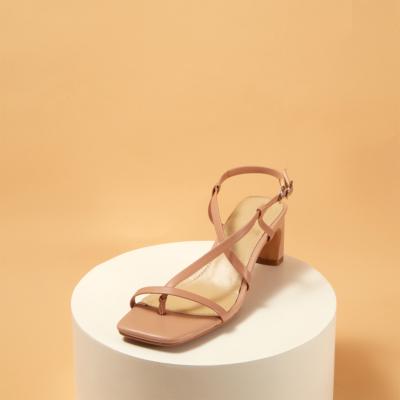 Nude Open Toe Cross Strap Slingback Buckle Chunky Heel Sandals