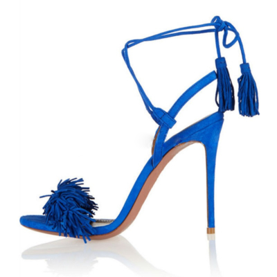 Open Toe Lace Up Stiletto Heels Sandals Fashion Fringe Shoes