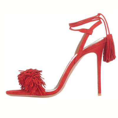 Red Open Toe Lace Up Stiletto Heels Sandals Fashion Fringe Shoes