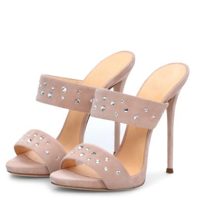 Suede Open Toe Rhinestone Stiletto Heels Sandals Spring Mules