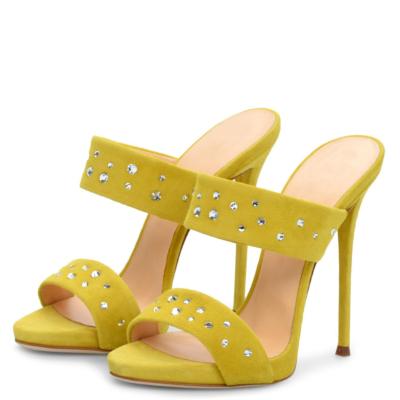 Yellow Suede Open Toe Rhinestone Stiletto Heels Sandals Spring Mules