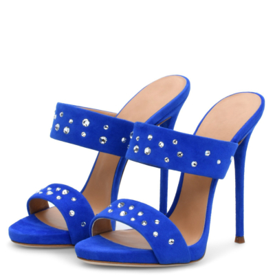 Blue Suede Open Toe Rhinestone Stiletto Heels Sandals Spring Mules