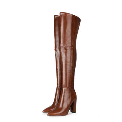 Brown Textured Chunky Heel Pointed Slip-on Work Thigh High Boots