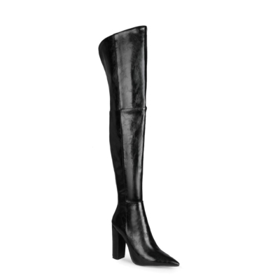 Black Textured Chunky Heel Pointed Slip-on Work Thigh High Boots