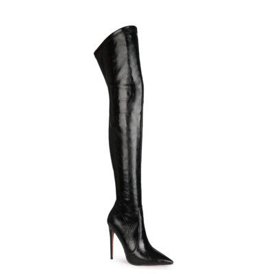 Black Over The Knee Stiletto Pointed Slip-on Work Thigh High Boots