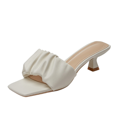 Padded Sandals Summer Low Heels Slides with Square Toe