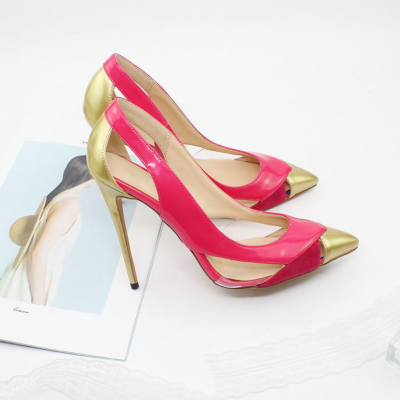 Party Cut Out Slip-on Pumps 5 inch Heels Stiletto Shoes with Pointy Toe