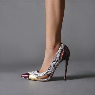 Party Cut Out Slip-on Pumps 5 inch Pointy Toe Heels Stiletto Shoes with Transparent Strap