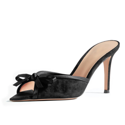Party Heels Slide Sandals 2021 Summer Stiletto Mules with Bow