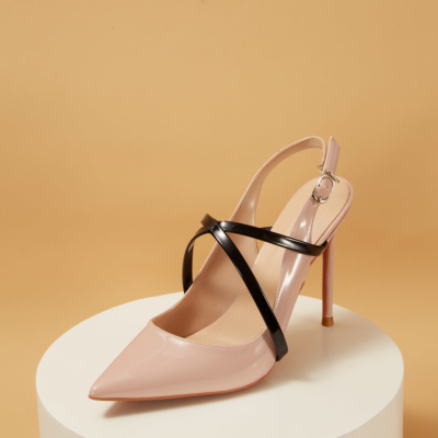 Blush Patent Leather Criss-Cross Stiletto Heel Slingback Dancing Pumps