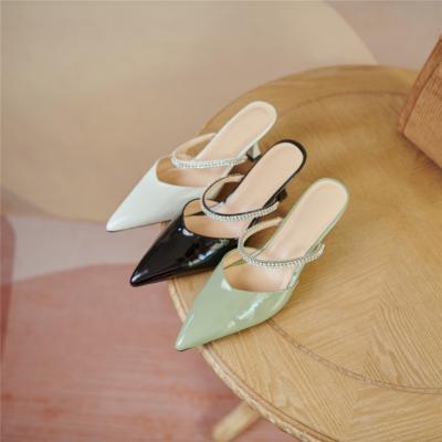 Patent Leather Mary Jane Mule Heels Crystal Strap Spool Heel Pumps