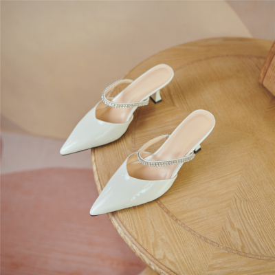 White Patent Leather Mary Jane Mule Heels Crystal Strap Spool Heel Pumps