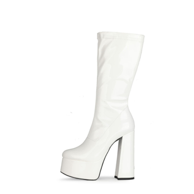 White Patent Leather Minimalist Chunky Heel Round Toe Zipper Pleaser Boots