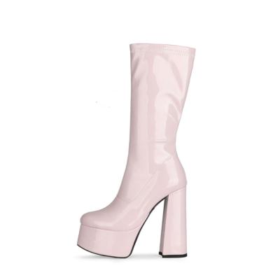 Nude Patent Leather Minimalist Chunky Heel Round Toe Zipper Pleaser Boots