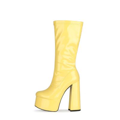 Yellow Patent Leather Minimalist Chunky Heel Round Toe Zipper Pleaser Boots