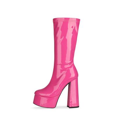 Fuchsia Patent Leather Minimalist Chunky Heel Round Toe Zipper Pleaser Boots