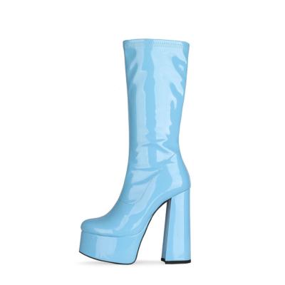 Patent Leather Minimalist Chunky Heel Round Toe Zipper Pleaser Boots