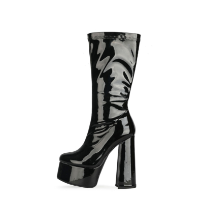 Black Patent Leather Minimalist Chunky Heel Round Toe Zipper Pleaser Boots for Halloween