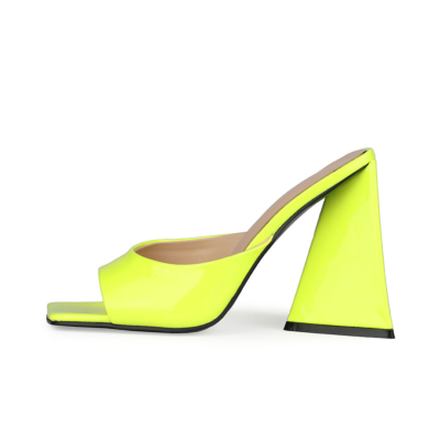 Neon Lime Patent Leather Party Mule Sandals Square Toe Slides with 4 inch Block Heel