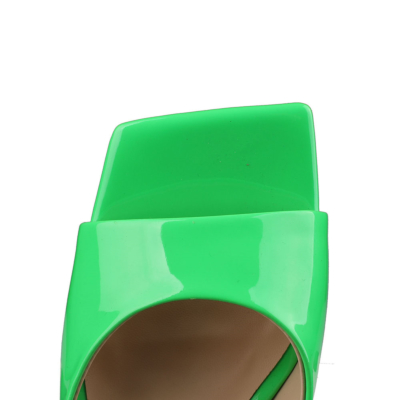 Green Patent Leather Party Mule Sandals Square Toe Slides with Block Heel