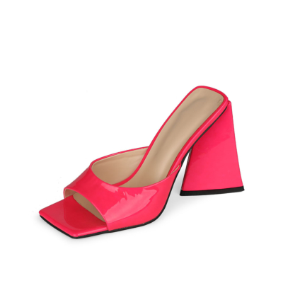 Fuchsia Patent Leather Party Mule Sandals Square Toe Slides with Block Heel 10cm