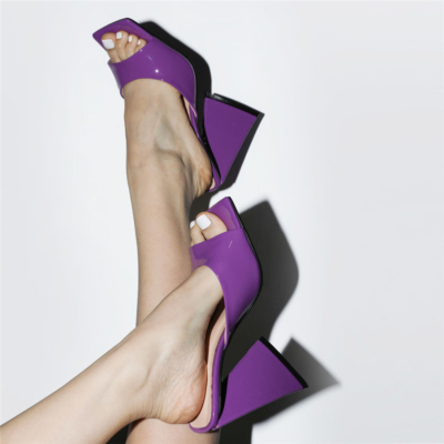 Purple Patent Leather Party Mule Sandals Square Toe Slides with Block Heel