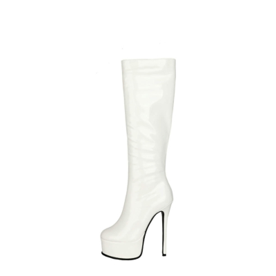 White Patent Leather Party Stiletto Pleaser Knee High Boots Zipper Platform Boot