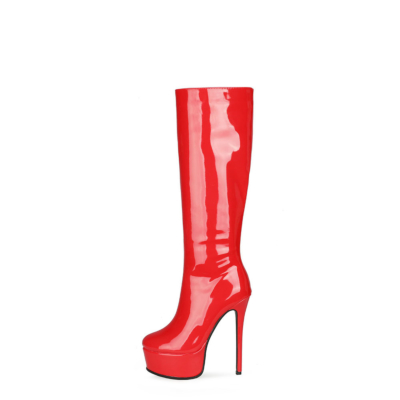 Patent Leather Party Stiletto Pleaser Knee High Boots Zipper Platform Boot