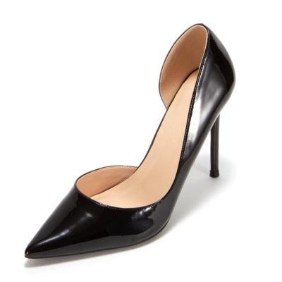 Black Patent Leather Pointed Toe D'orsay Stiletto Heels Pumps