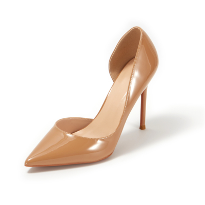 Dark Nude Patent Leather Pointed Toe D'orsay Stiletto Heels Pumps