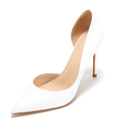 White Patent Leather Pointed Toe D'orsay Stiletto Heels Pumps