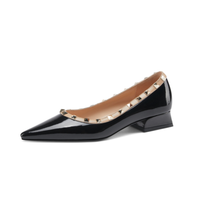 Patent Leather Pointed Toe Low Heel Studded Pumps Spring Summer 2021 Shoes