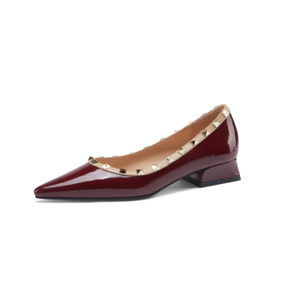 Burgundy Patent Leather Pointed Toe Low Heel Studded Pumps Spring Summer 2021 Shoes