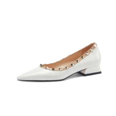 White Patent Leather Pointed Toe Low Heel Studded Pumps Spring Summer 2021 Shoes