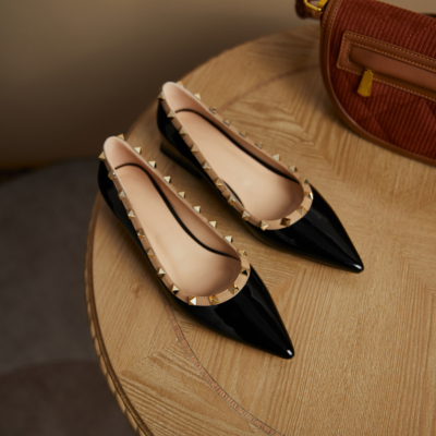 Black Patent Leather Pointed Toe Low Heel Studded Pumps Spring Summer 2021 Shoes
