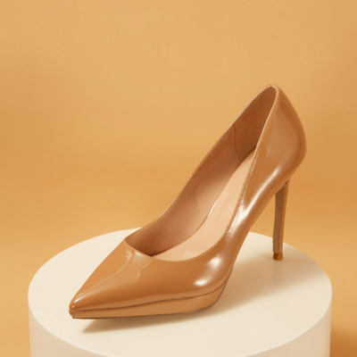 Nude Patent Leather Pointed Toe Platform Stiletto Heels Pumps